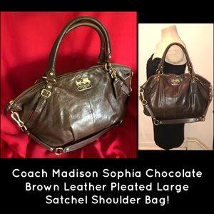 Coach Madison Sophia Leather Pleated Satchel Bag!